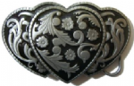 3 Hearts Floral (black) Belt Buckle + display stand. Code TS8